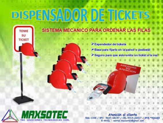 Maxsotec - dispensador de tickets mecánico rojo,azul y verde + parante de metal
