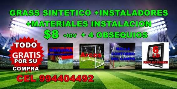 Grass sintético instalación completa $ 8 mas 4 obsequios