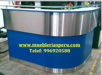 Counter en l , color azul con acero inoxidable