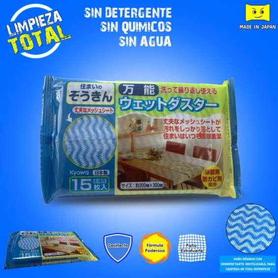 Dirigido a bodegas, centros comerciales, tiendas, etc  paño microfibra húmeda - desinfectante. no necesita detergente, agua ni químicos. con fórmula limpiadora. procedencia japonesa.  pedido a los teléfonos: 986896322 - 967264053  ?whatsapp 1: https://wa.m