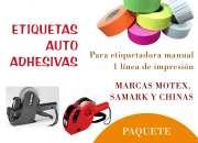 13,500 ETIQUETAS AUTOADHESIVAS 1 LINEA DE IMPRESION PARA ETIQUETADORAS MANUALES